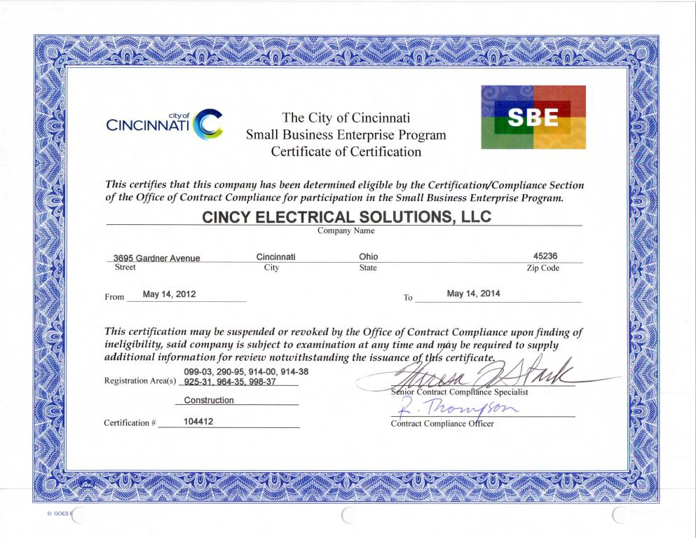 Cincyelectricalsolutions Sbe Certification